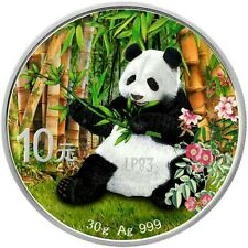 CHINA 2017 10 Y. PANDA 1 Oz SILVER COLOR COLORED MINTAGE 100 PCS WITH BOX COA v1