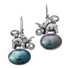 "1 1/8"" OVAL BLUE MABE PEARL BLUE TOPAZ ELEPHANT 925 STERLING SILVER earrings"