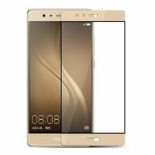 HUAWEI P9 FULL COVER CURVED GOLD TEMPERED GLASS SCREEN PROTECTOR + CLEAR CASE