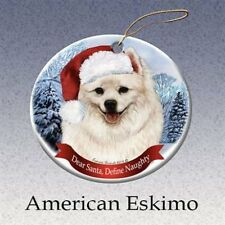 Holiday Pet Gifts American Eskimo Santa Hat Dog Porcelain Christmas Ornament
