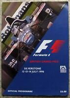 BRITISH GRAND PRIX FORMULA ONE 1996 SILVERSTONE F1 Race Official Programme