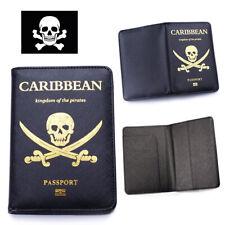 The Caribbean Pirates Passport Cover Skull Travel Identification Holder Pirate