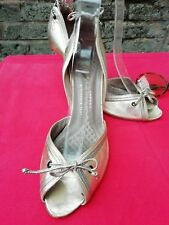 Vtg 90s Anya Hindmarch Gold & Silver All Genuine Leather Shoes Size 4 EU 37 Fab.