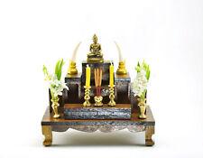 """3"""" Thai Buddha amulet Nice SET of 7 mini Altar Teak wood Tables worship"""