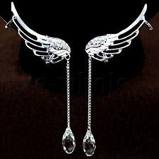 A Pair Full Rhinestone Angell Wing Tassel Ear Cuff Screw Clip Earrings Stud DE