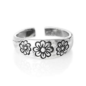 Flower Design Toe Ring Solid Sterling Silver 925 USA Seller Adjustable Jewelry