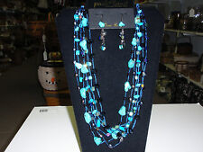 """Park Lane Jewelry """"TRUE BLUE"""" Necklace & Earring Set.  turquoise, pearls, New!!!"""