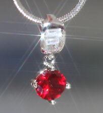 Sparkling 1ct Created Diamond & Ruby Pendant + Chain