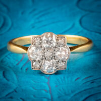 ART DECO DIAMOND CLUSTER RING 18CT GOLD PLATINUM CIRCA 1920