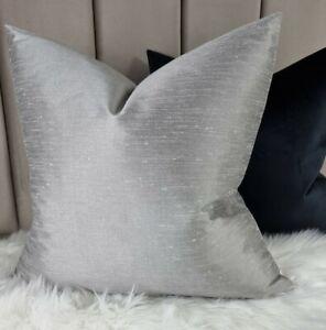 """18x18"""" Faux Silk Cushion Cover Plain Luxury John Lewis Fabric  Flint Silver"""