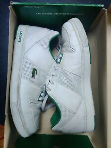 MENS LACOSTE WHITE GREEN THRILL LEATHER Sneakers Court 10.5