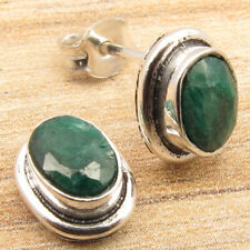 Simulated Emerald Gems Women s Jewelry Small Earrings 925 Silver Plated Richfeel