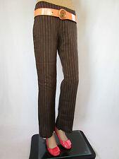 ZARA Womens Brown Linen Striped Casual Light Trousers Pants sz US4  EU36 AQ34