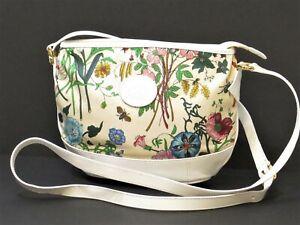 Authentic Old Gucci Nylon&Leather Shoulder bag Flower Botanical Women 18630714