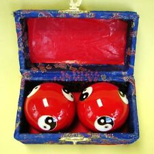 Red Yin Yang Chinese Healthy Exercise Massage Iron Metal Balls