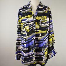 ALFANI Woman 20W Plus Blouse Poly Stretch Pockets Roll Tab Sleeves V Neck EUC