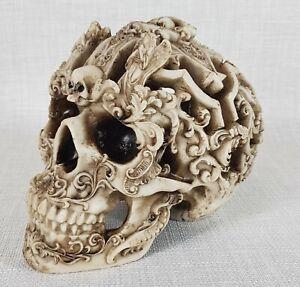 Gothic Angel Skull Head Halloween Carved Ornament Sculpture Figurine 19 cm