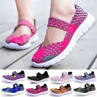 New Women's Sandals Trainers Ladies Casual Beach Woven Elasticated Shoes Slip On