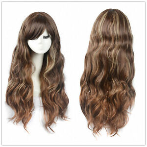 Women Coffee Brown Long Wavy Curly Blonde Hair Wig Full Wigs