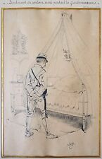 Dessin original de JOB (1858-1931) illustration Militaire militaria 1890