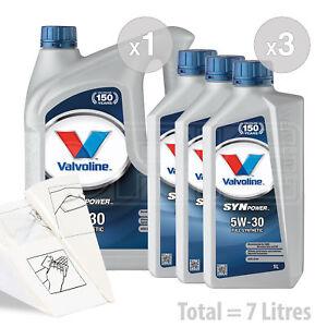 Car Engine Oil Service Kit / Pack 7 LITRES Valvoline SynPower 5W-30 5W30 7L