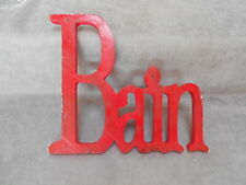 vintage French red wood Sign Plaque / BAIN = bathroom