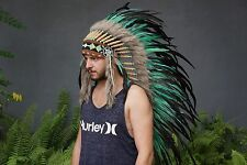 Indian Chief, Native American Headdress, Hat Feather Turquoise Warbonnet Costume