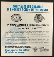 1992 NHL Hockey Ticket Order Form Wembley Arena UK Montreal Canadiens Chicago