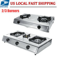 Stainless Steel 2/3 Furnaces Gas Stove Burner Kitchen In/Outdoor Cooktop Cooking