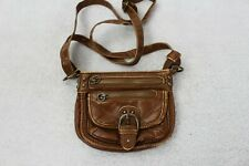 Unbranded Faux Leather Brown Polyurethane Zippered Mini Hand Bag