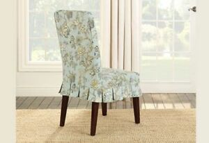Sure fit floral Casablanca rose moonstone blue Dining Room Chair Slipcover NEW