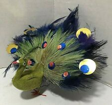 Vintage Peacock Christmas Tree Ornament Real Feathers