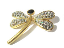 Goldtone Metal Dragonfly Brooch Pin Item 3886