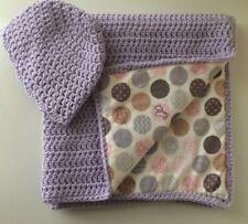 Handmade Purple Baby Blanket Reversible Crochet Bedding Cover Throw Crib Nursery