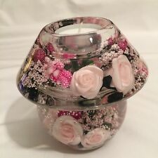 HAND MADE GLASS CANDLE HOLDER  WITH FLORAL DESIGN (PINK)