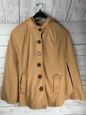 GENEOLOGY FASHION DNA tan hooded cape L/XL Plus with pockets