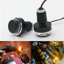 2X Motorcycle Turn Signal LED Light Indicator Blinker Handle Bar End Handlebar
