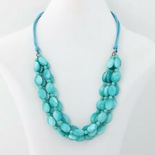 New Turquoise Mother of Pearl & Quartzite Beaded Necklace Statement Sterling