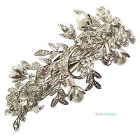 Bridal Wedding Vintage Vine Leaf Crystal Pearl Silver Barrette Hair Clip CL06