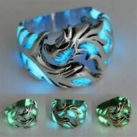 Punk Luminous Titanium Steel Glow In The Dark Ring Women Men Charm Ring Jewelry