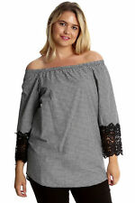 New Womens Plus Size Top Ladies Cotton Crochet Lace Tartan Check Print Nouvelle