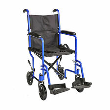 "19"" Lightweight Transport Wheelchair W/swingaway Legrests and Seat Belt  BLUE"