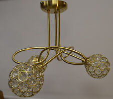 Satin Gold Crystal Glass 3 light Ceiling fitting Semi Flush