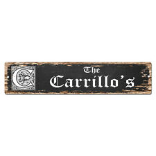 SPFN0443 The CARRILLO'S Family Name Street Chic Sign Home Decor Gift Ideas