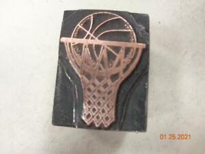 Printing Letterpress Printer Block Decorative Basketball In Net Print Cut