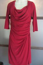 JONES NEW YORK RED Dress Slinky Draped Neck Ruched Waist Dress 12