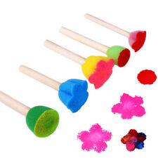 5Pcs/Set Children Diy Painting Sponge Brush Toys Wooden Handle Learning Tool CA