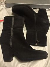 "NEW Actual Prada Black Solid Suede Ankle High Boots Women's 3.5"" Heel SZ US 8.5"