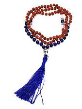 Lapis Lazuli Rudraksha Mala Buddha Stone Crystal Japa Rosary Beads Meditation