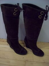 Franco Sarto Brown Suede Knee Boots Heels Cuff Eyelets Shoes Size 7 @ cLOSeT